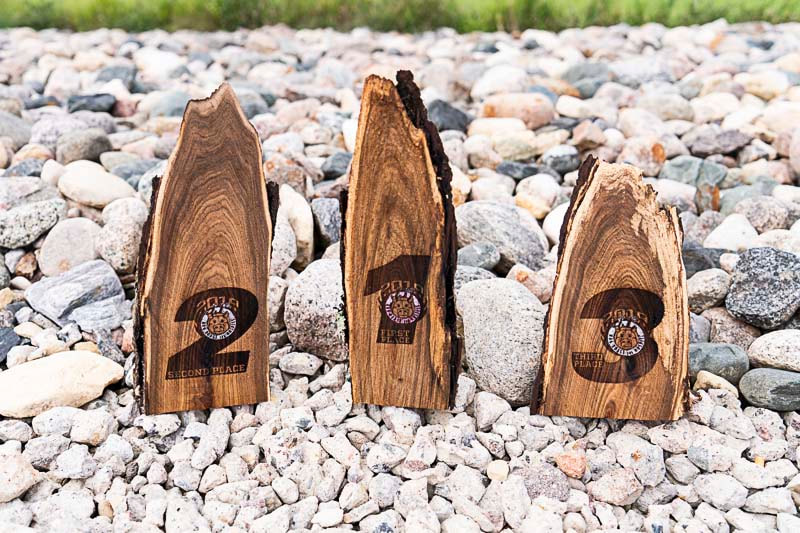 JJ's Hog Roast, Car Show Award, Back Show Award, Live Edge Awards, Hospice, Hospice of the Red River Valley, Fargo Apparel, Laser Etched, desktop plaques