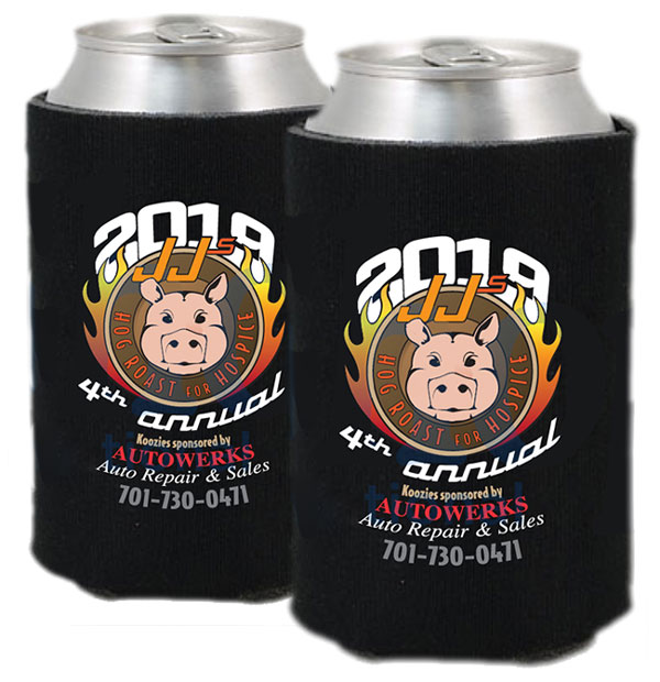 JJ's Hog Roast, Hospice of Red River Valley, 2019 koozie, sponsored by AutoWerks sales and repair, Cre8tive Tz
