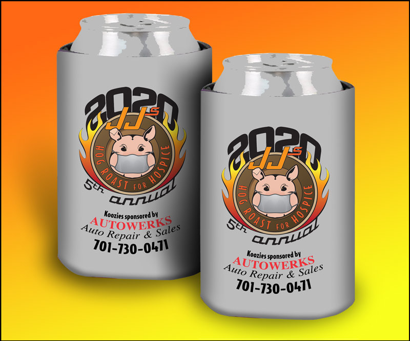 JJ's Hog Roast Koozies sponsored by AutoWerks Auto Repair and Sales